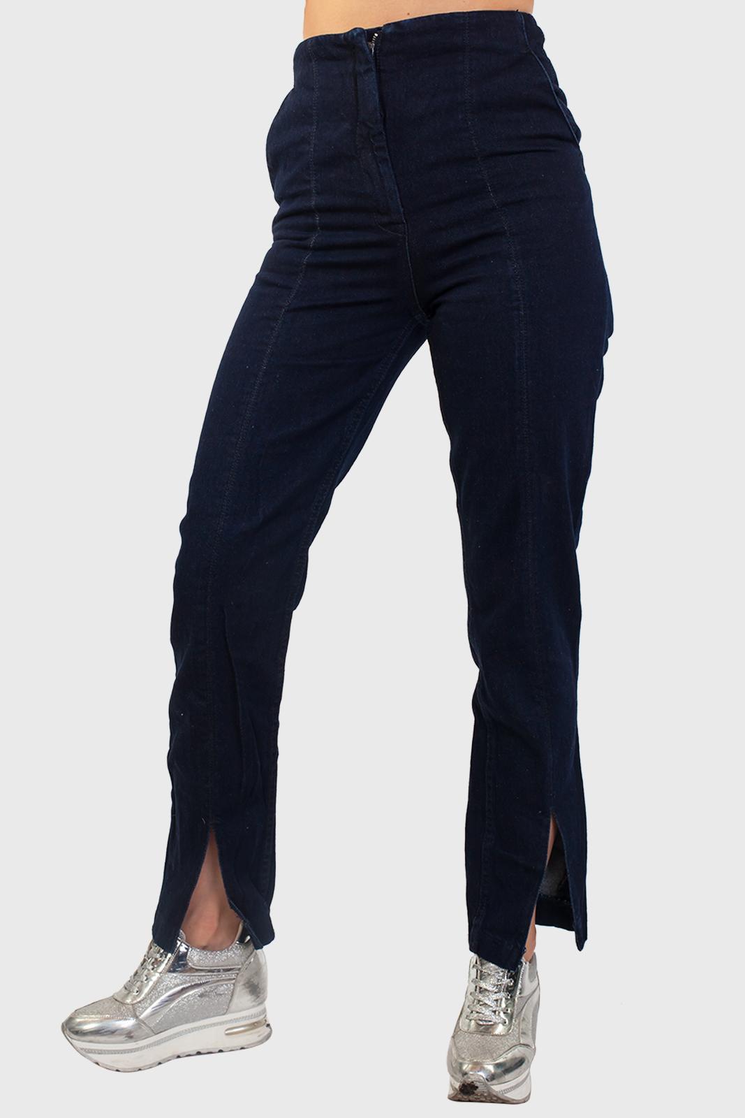 Темно-синие прямые женские джинсы