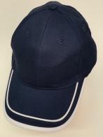 Темно-синяя бейсболка с двумя белыми полосами на козырьке