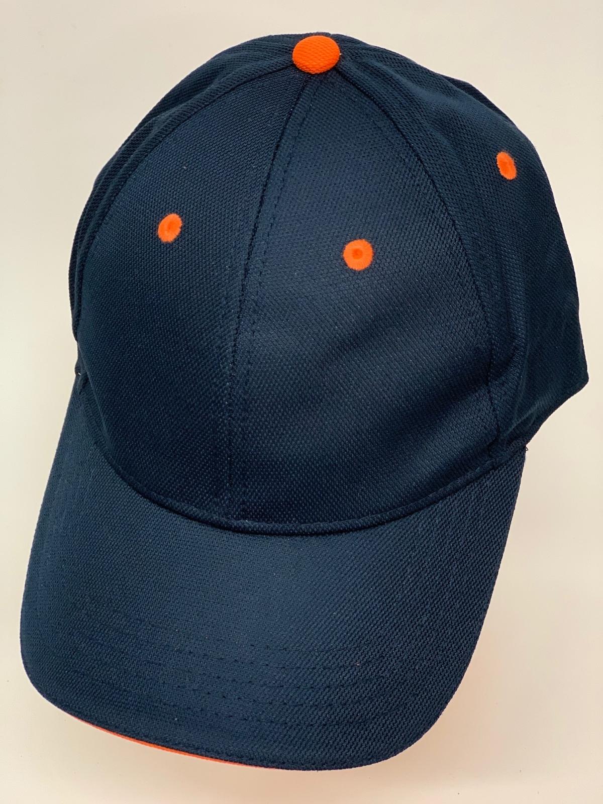 Темно-синяя бейсболка с оранжевыми люверсами