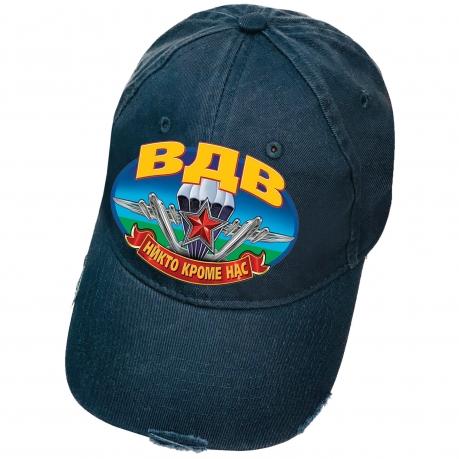 Тёмно-синяя бейсболка с термопереводкой ВДВ и рваным козырьком