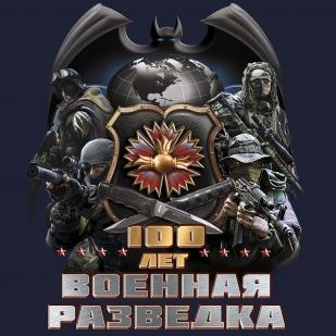 """Темно-синяя футболка """"100 лет Военной разведке"""" авторского дизайна"""