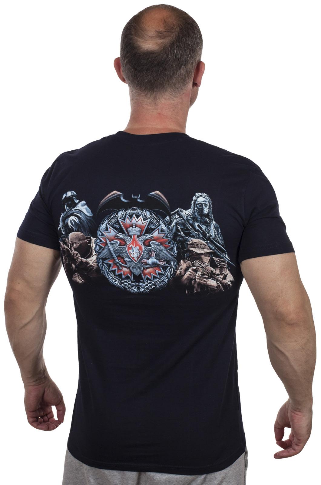"""Темно-синяя футболка """"100 лет Военной разведке"""" по выгодной цене"""