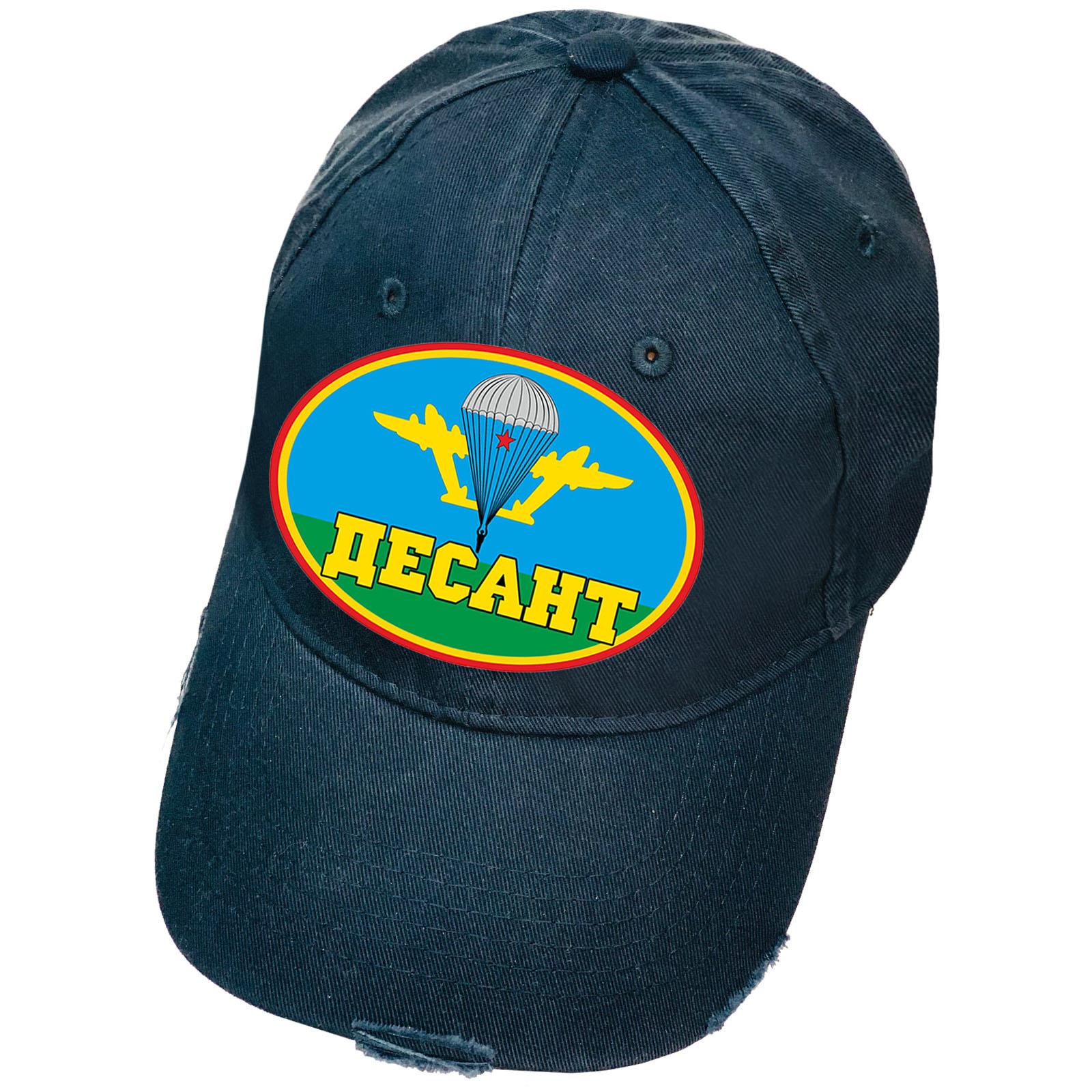 Тёмно-синяя кепка с термоаппликацией Десант и рваным козырьком