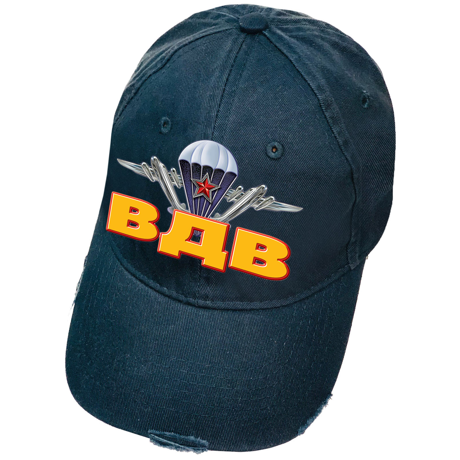 Тёмно-синяя кепка с термопринтом ВДВ и рваным козырьком