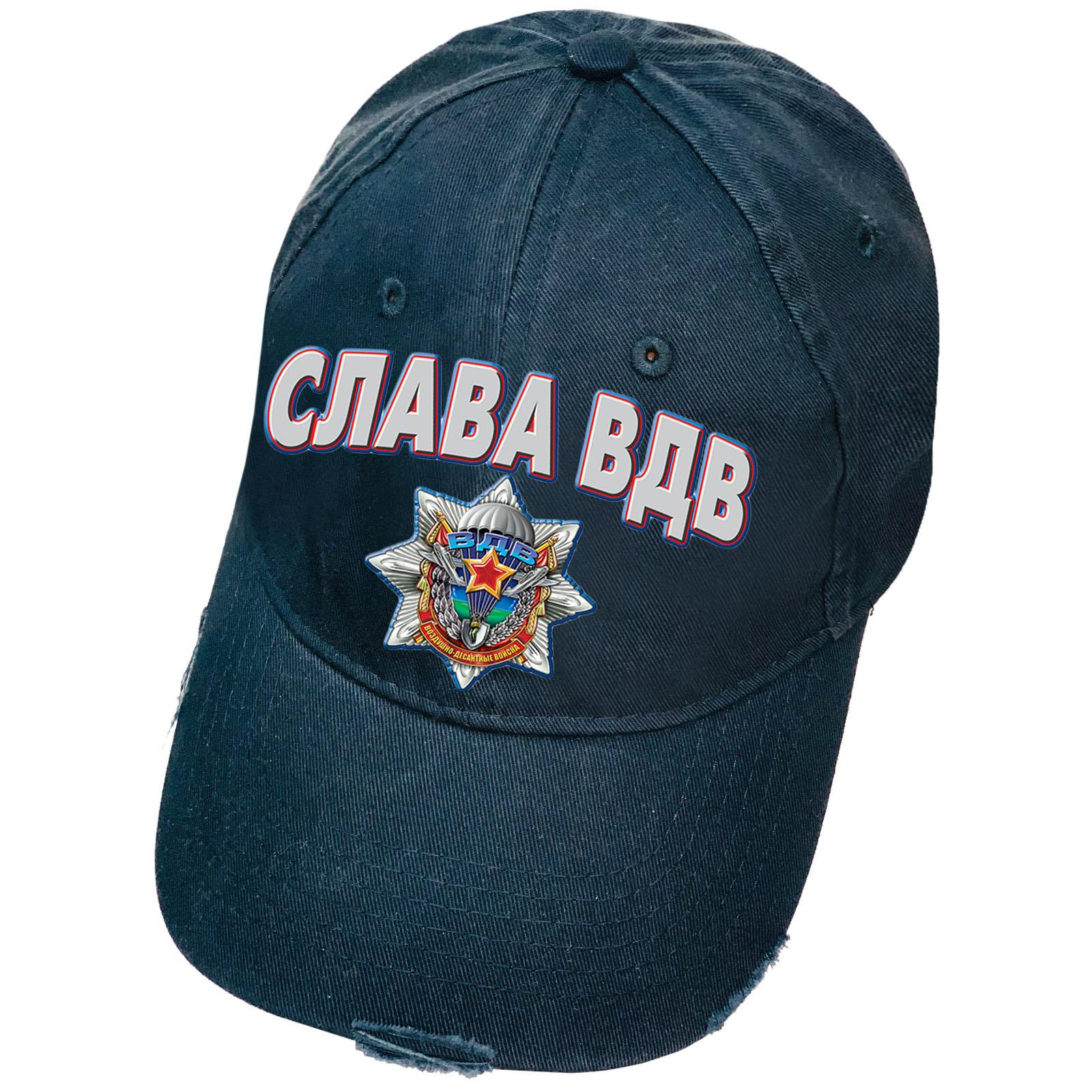 Тёмно-синяя кепка с термотрансфером Слава ВДВ и рваным козырьком