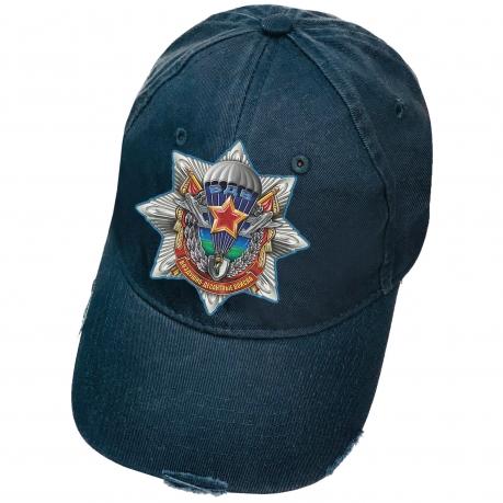 Тёмно-синяя кепка с термотрансфером Воздушно-десантные войска и рваным козырьком