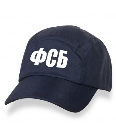 Темно-синяя крутая кепка-пятипанелька с термонаклейкой ФСБ
