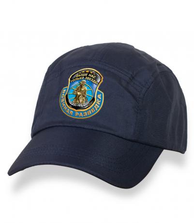 Темно-синяя крутая кепка-пятипанелька с термонаклейкой Военная Разведка