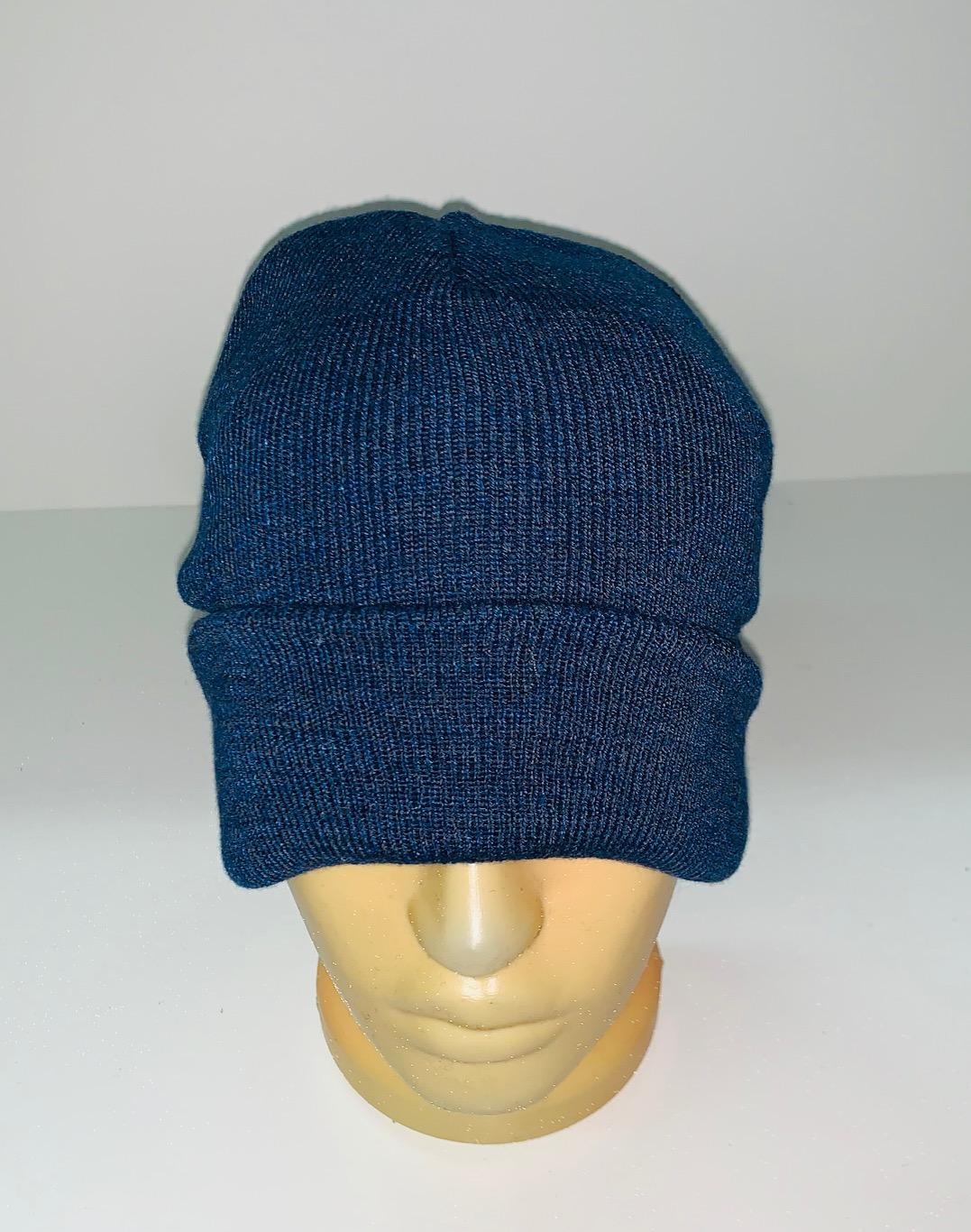 Темно-синяя крутая шапка