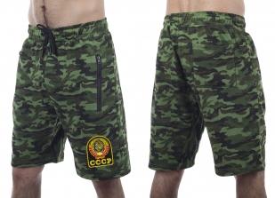 Темно-зеленые шорты удлиненного фасона с карманами и нашивкой СССР -купить с доставкой