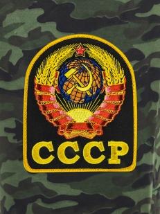Темно-зеленые шорты удлиненного фасона с карманами и нашивкой СССР