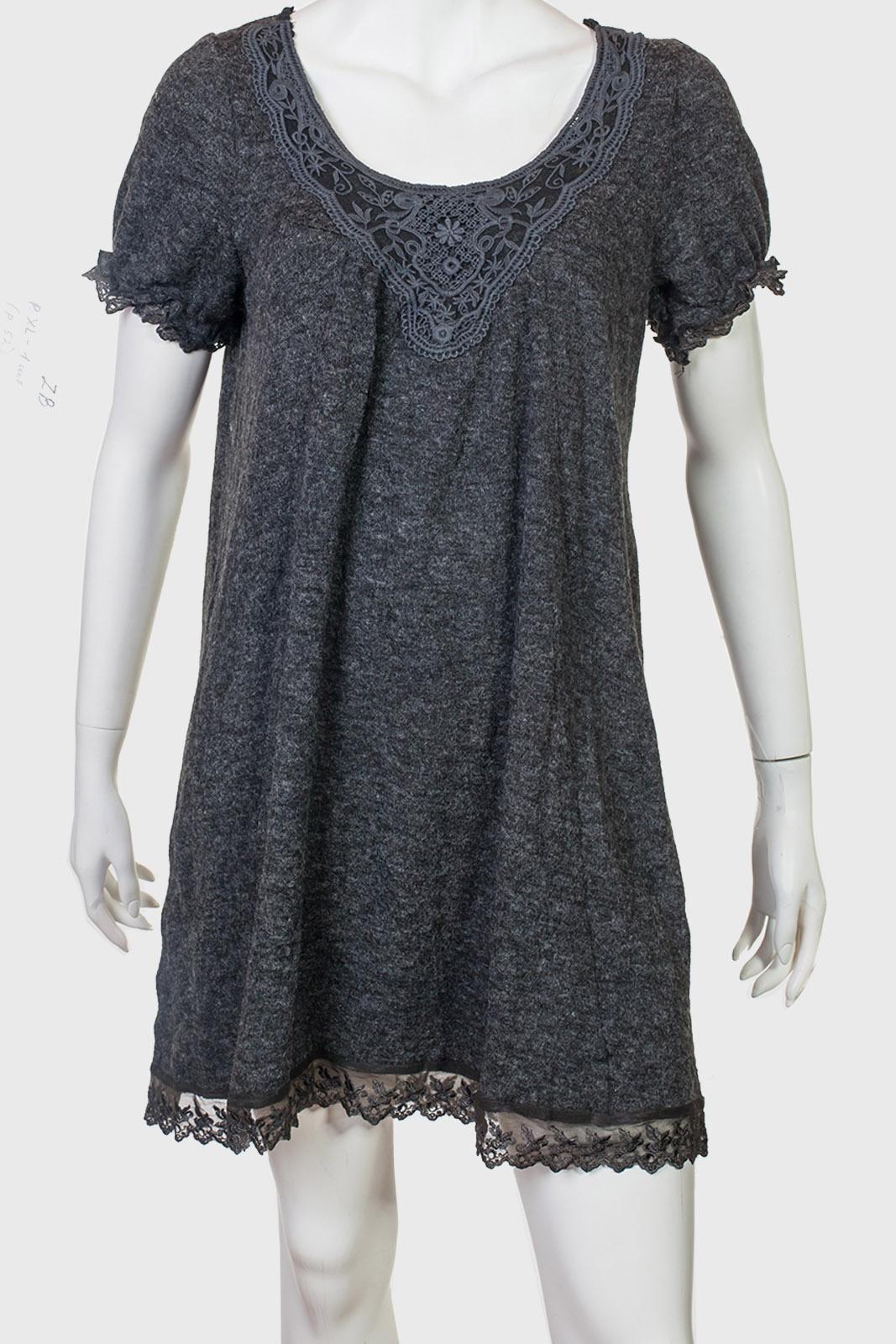 Темное трендовое платье с кружевом от ZB