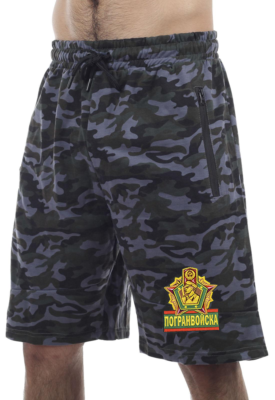 Купить темные армейские шорты с карманами и нашивкой Погранвойска оптом выгодно