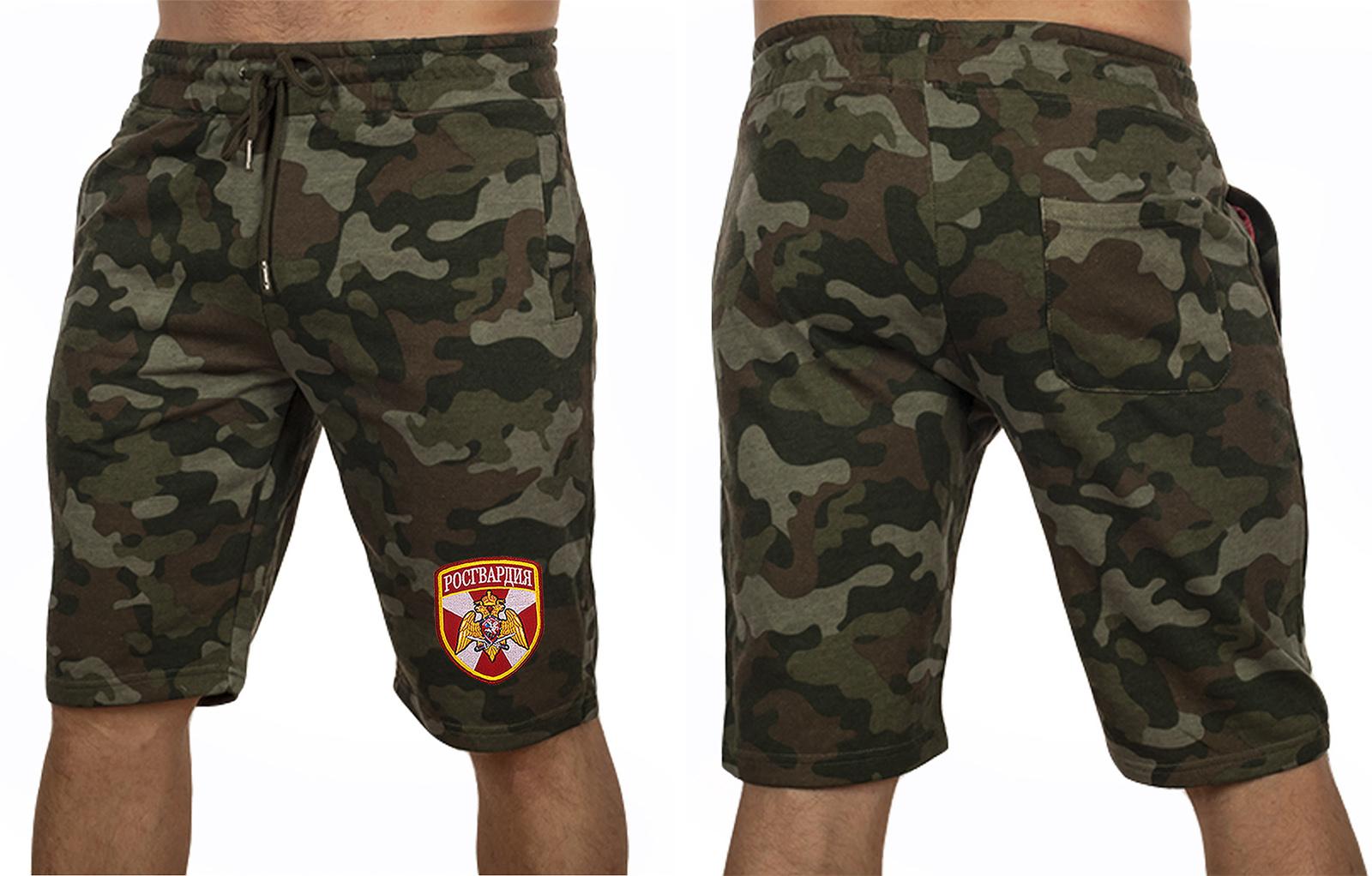 Темные армейские шорты с нашивкой Росгвардия - купить с доставкой