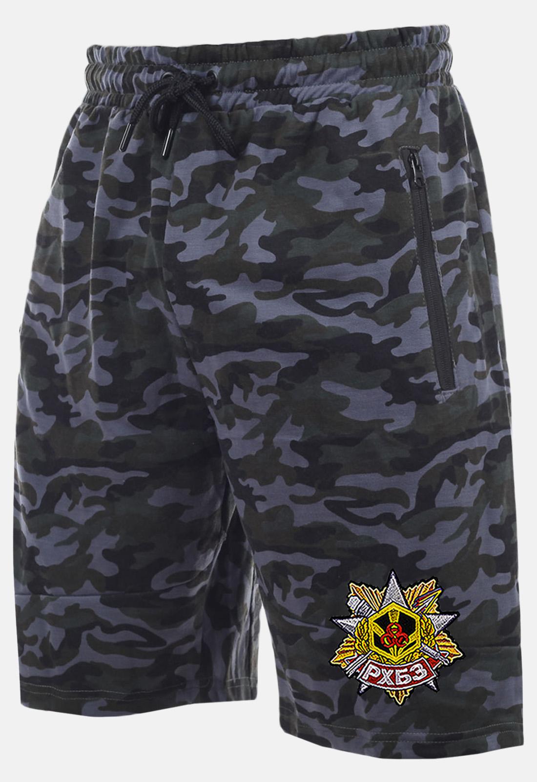 Темные камуфляжные шорты с карманами  нашивкой РХБЗ