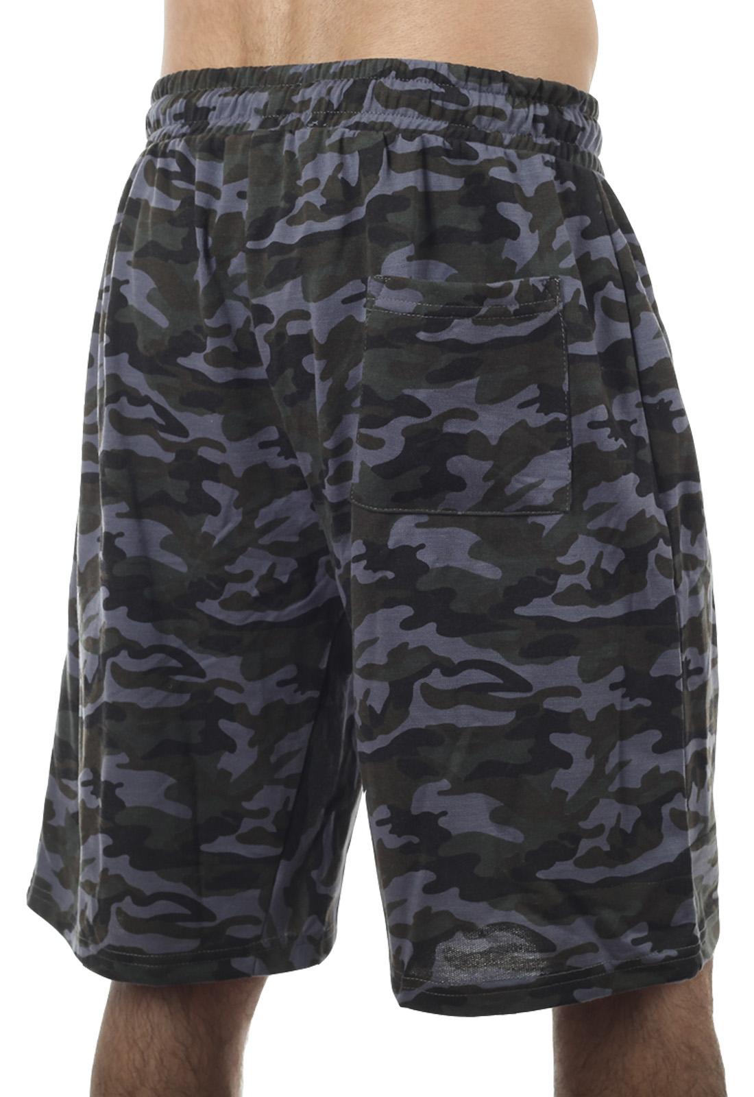 Темные камуфляжные шорты с карманами  нашивкой РХБЗ - купить онлайн