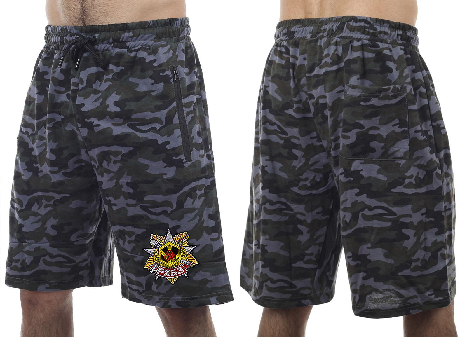 Темные камуфляжные шорты с карманами  нашивкой РХБЗ - купить с доставкой