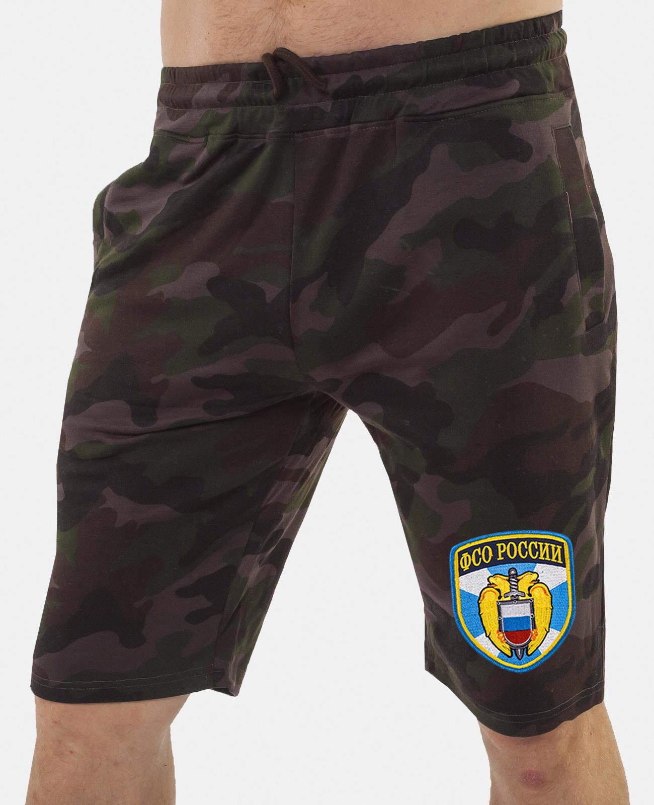 Купить темные крутые шорты с нашивкой ФСО онлайн в подарок