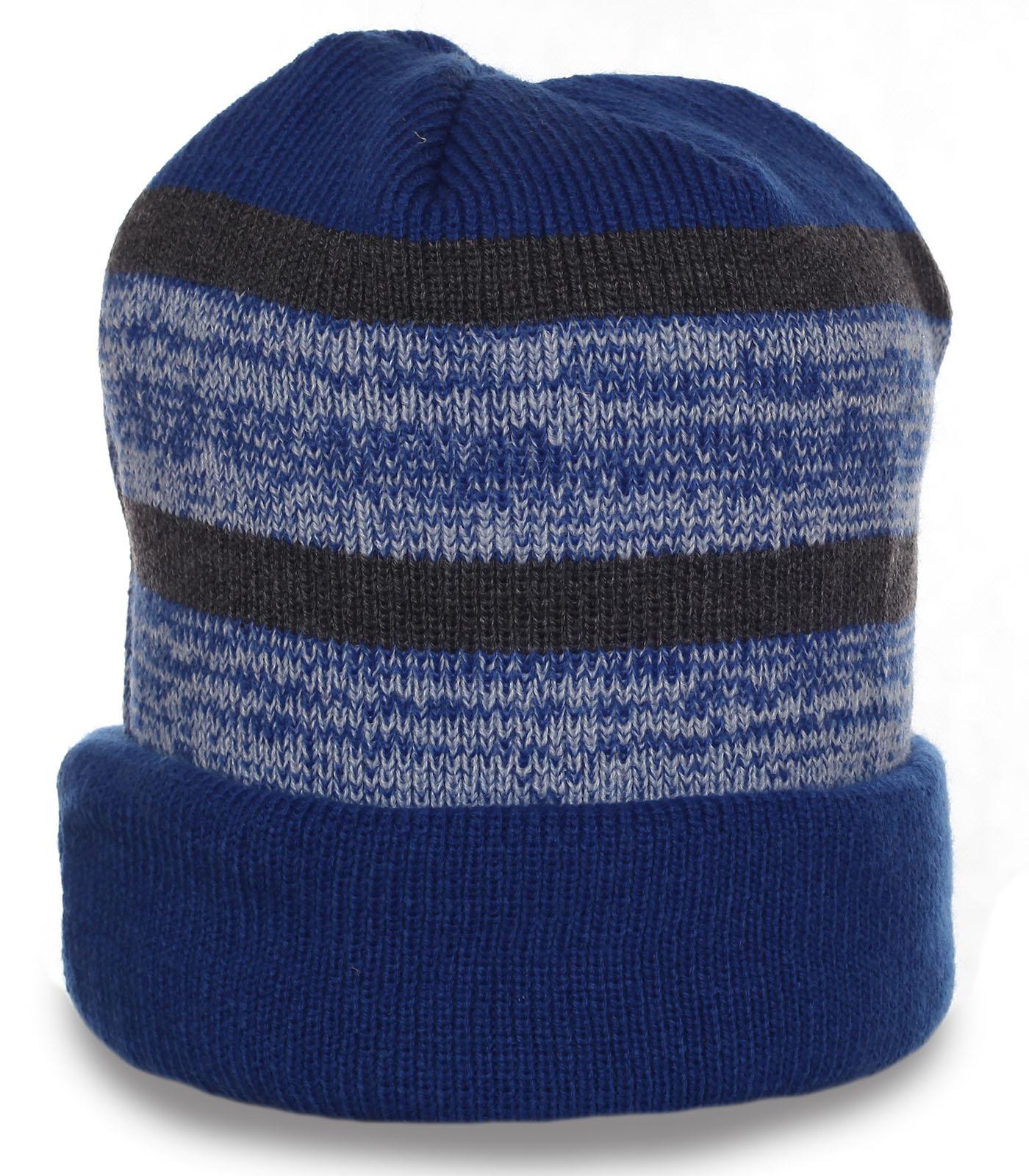 Теплая мужская шапка с отворотом спортивного стиля отменный функциональный аксессуар