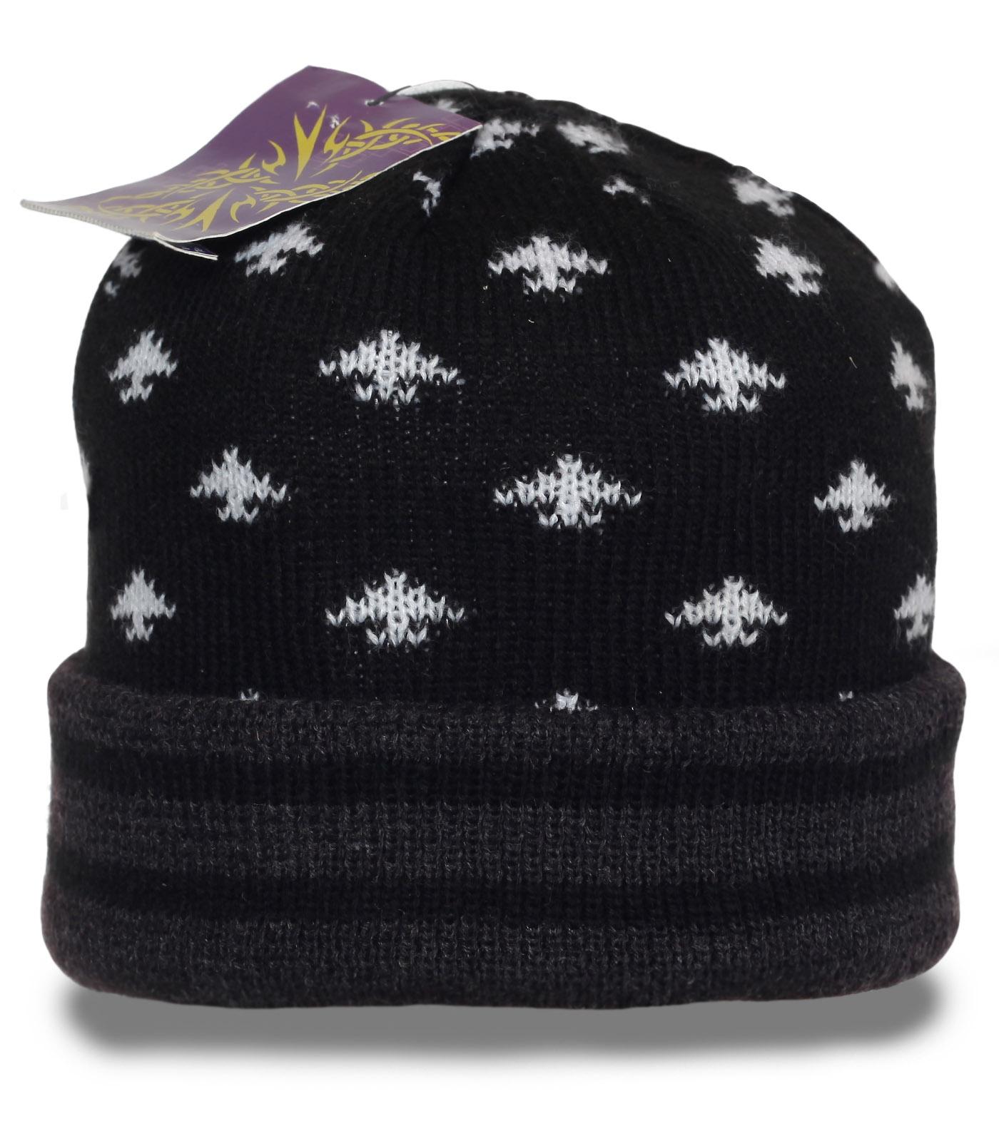 Теплая мужская шапка с подворотом. Универсальная аккуратная модель на каждый день и для спорта