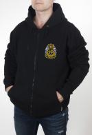 Теплая мужская толстовка черного цвета с нашивкой Балтийский флот купить в подарок