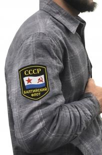 Теплая рубашка в клетку для мужчин с нашивкой Балтийский флот купить с доставкой