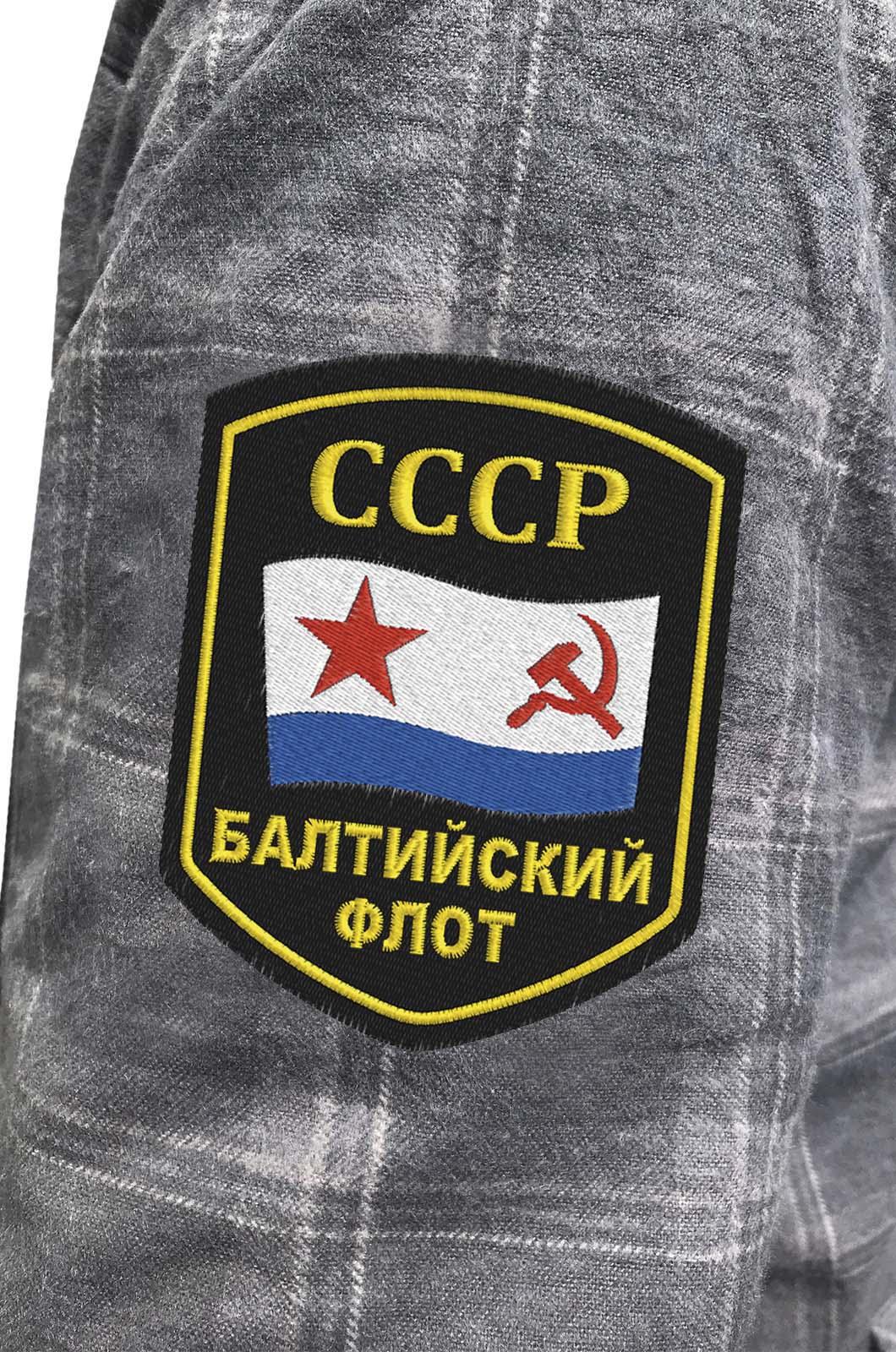 Теплая рубашка в клетку для мужчин с нашивкой Балтийский флот купить выгодно