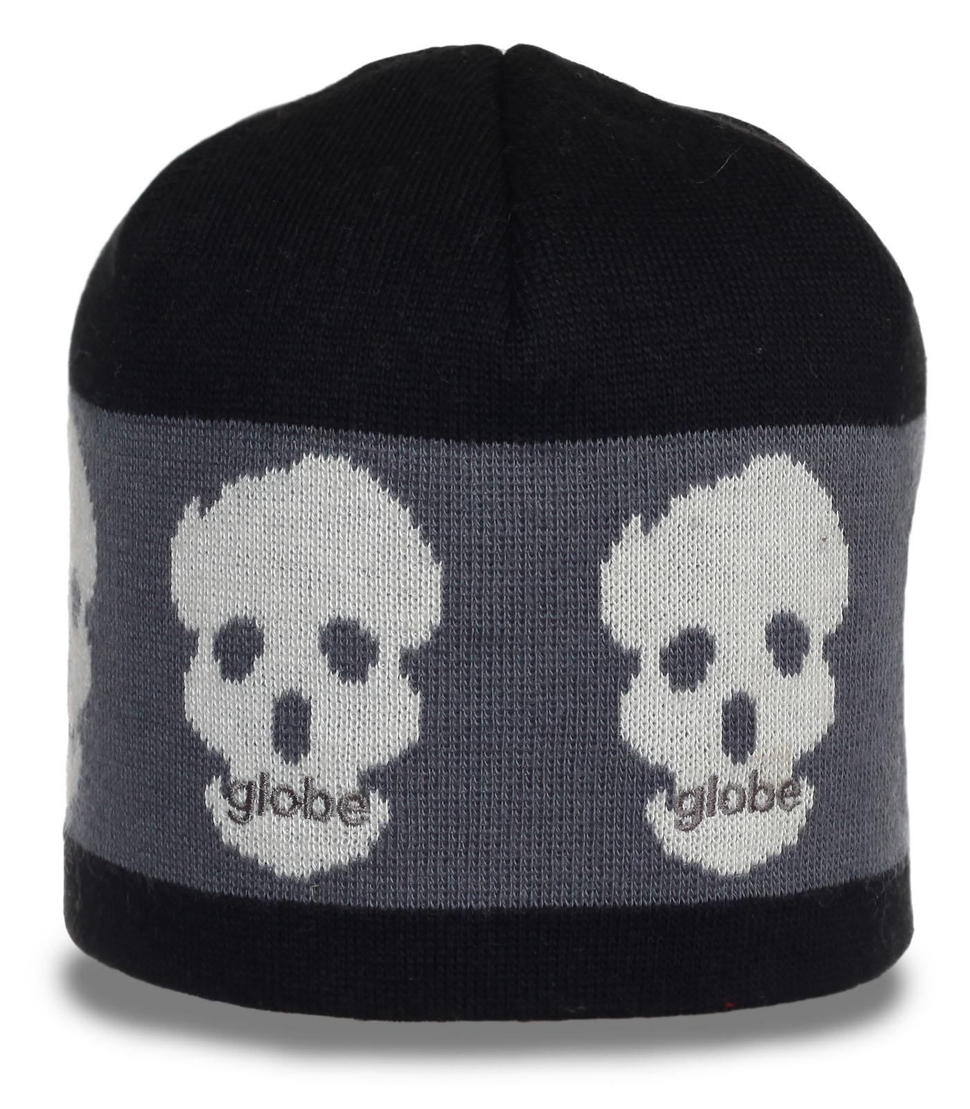 Теплая шапка Globe с черепами для крутых парней. Носи куда хочешь - выделяйся!