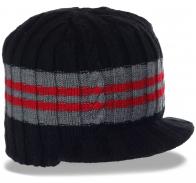Теплая вязаная шапка-кепка на флисе от бренда Barts