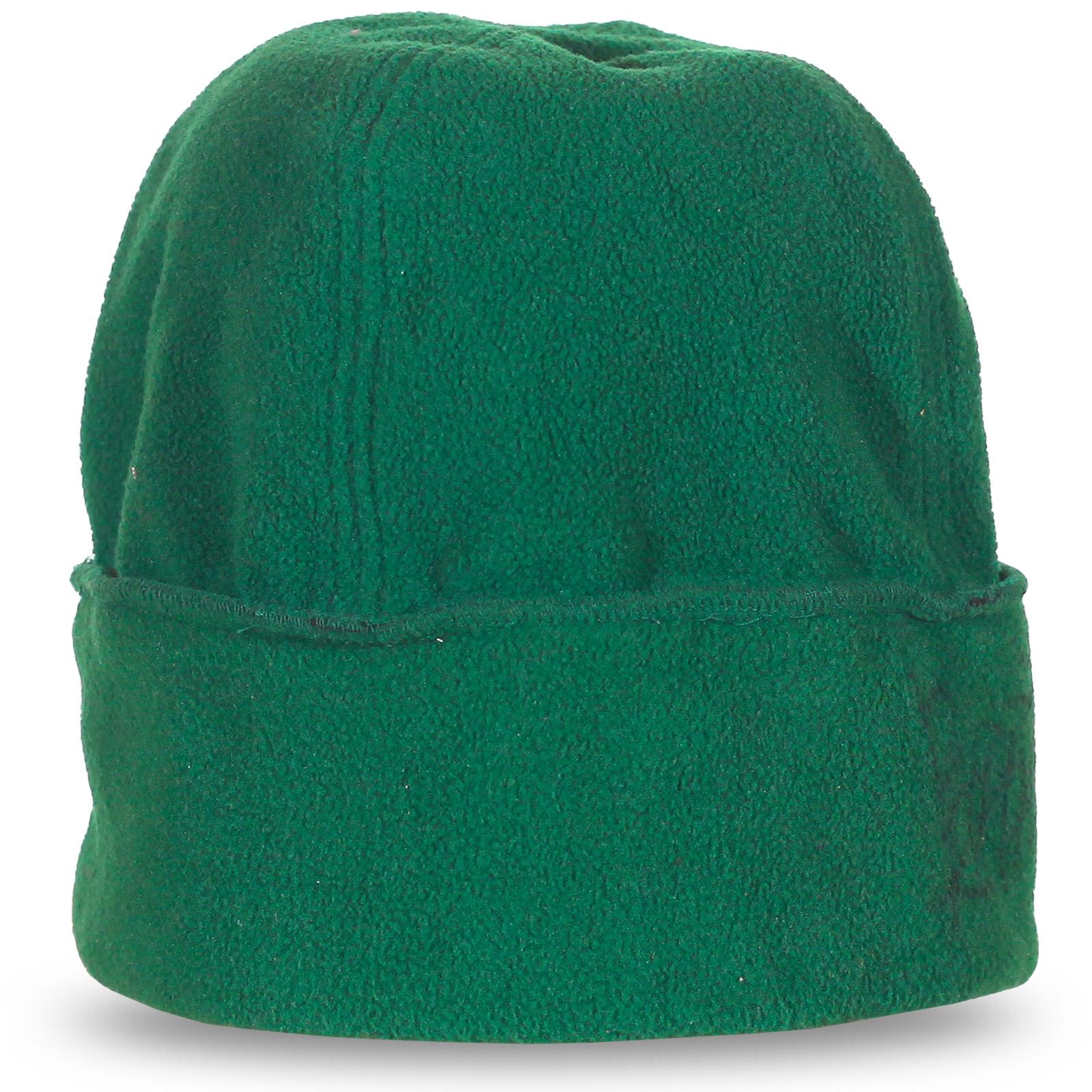 Теплая зеленая шапка с подворотом