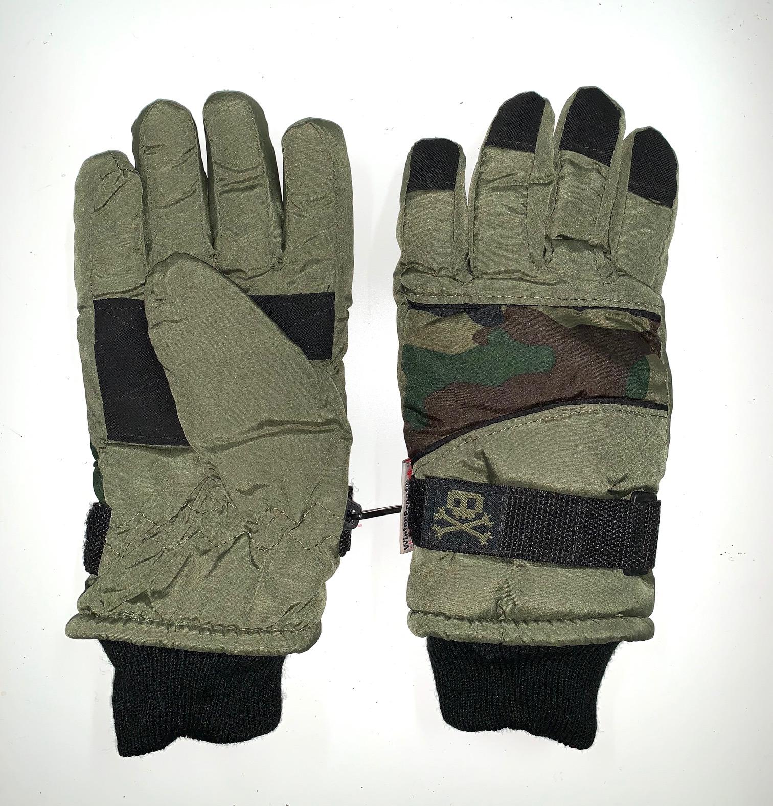Теплые детские перчатки с камуфляжными вставками