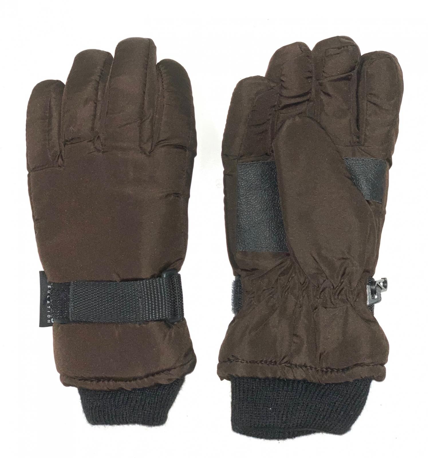 Теплые перчатки коричневого цвета с манжетами