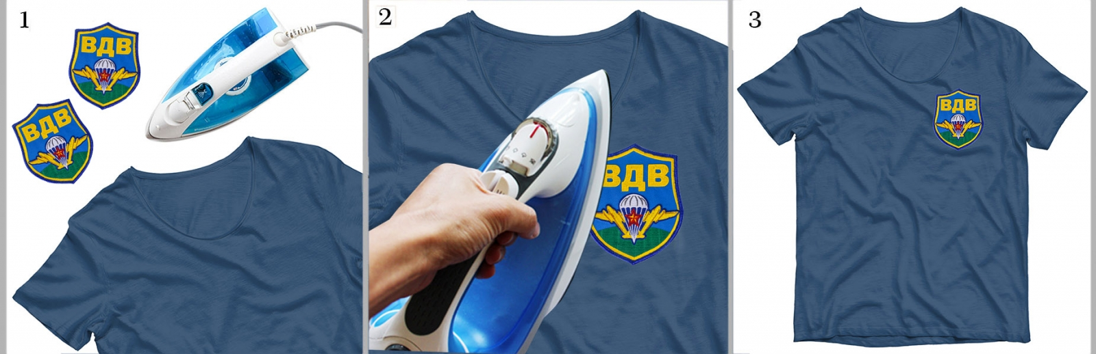 Термоклеевый шеврон ВДВ на футболке