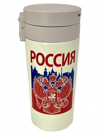 Надёжная термокружка с принтом Россия