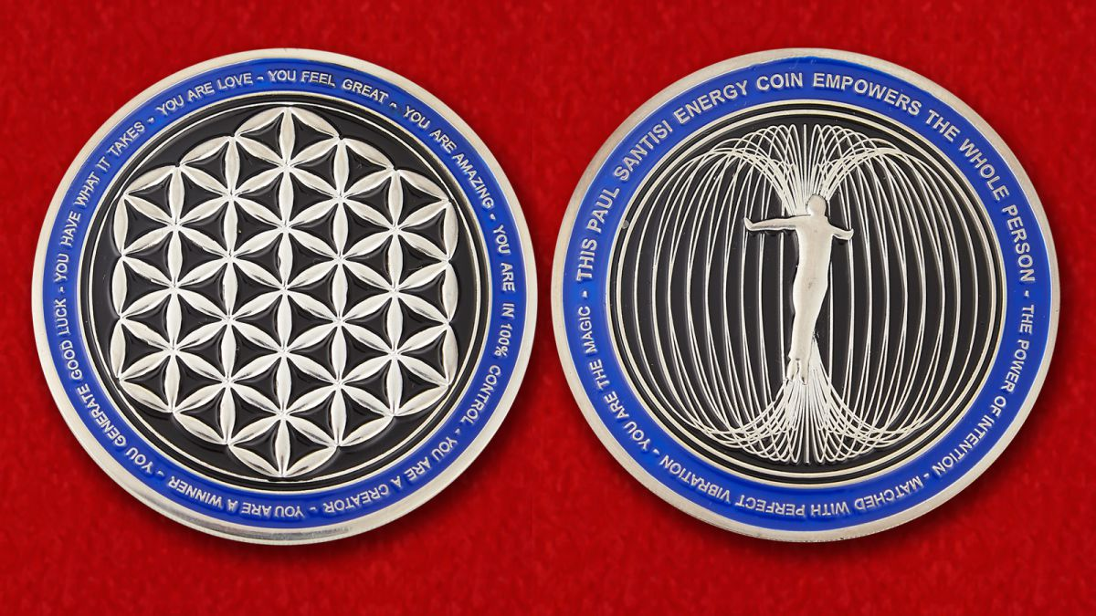 The Paul Santisi Intention Energy Challenge Coin - obverse and reverse