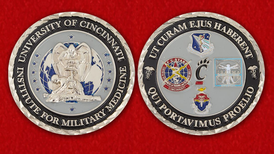 The University of Cincinnati Institute for Military Medicine Challenge Coin - obverse and reverse
