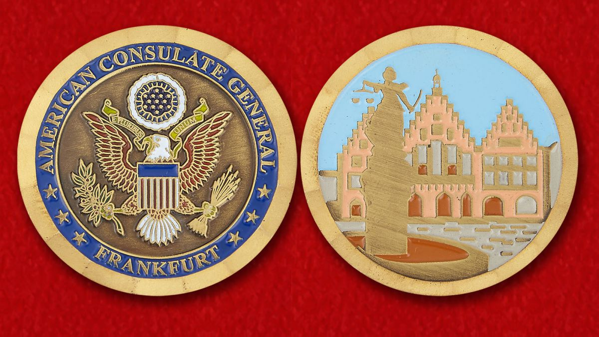 The US Consulate General in Frankfurt Challenge Coin - obverse and reverse