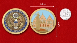 The US Consulate General in Frankfurt Challenge Coin - comparative size
