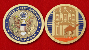 The US Embassy in Amman Challenge Coin - obverse and reverse