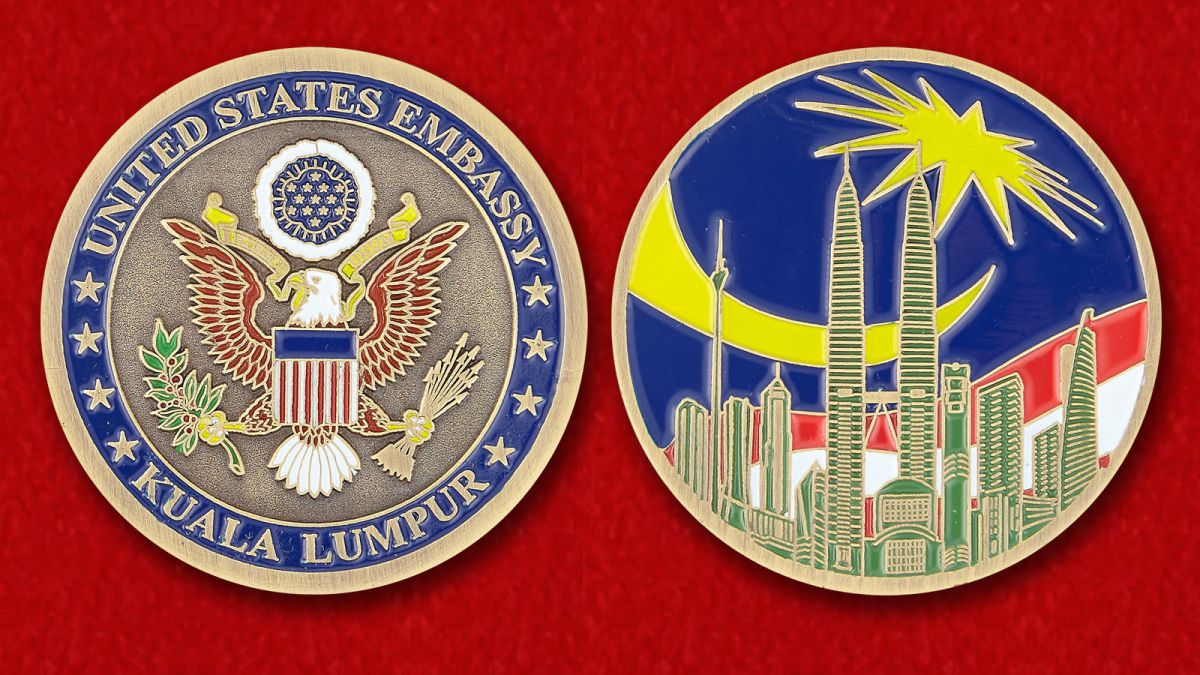 The US Embassy in Kuala Lumpur Challenge Coin - obverse and reverse