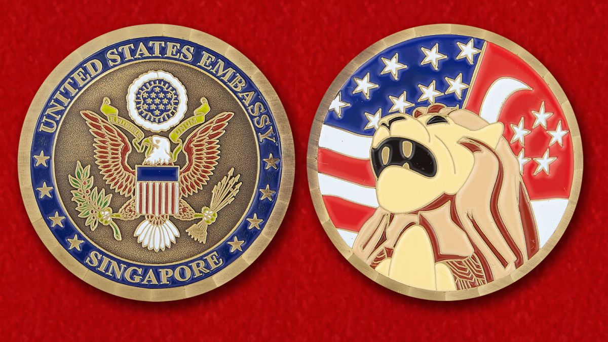 The US Embassy in Singapore Challenge Coin - obverse and reverse