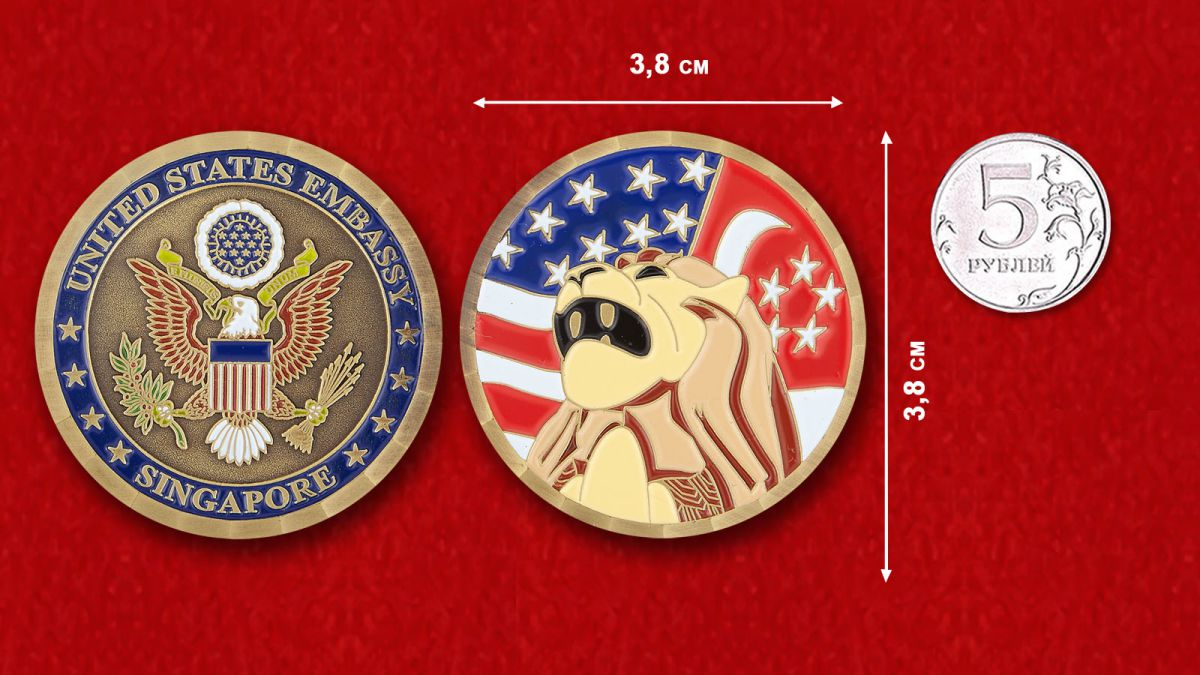 The US Embassy in Singapore Challenge Coin - comparative size