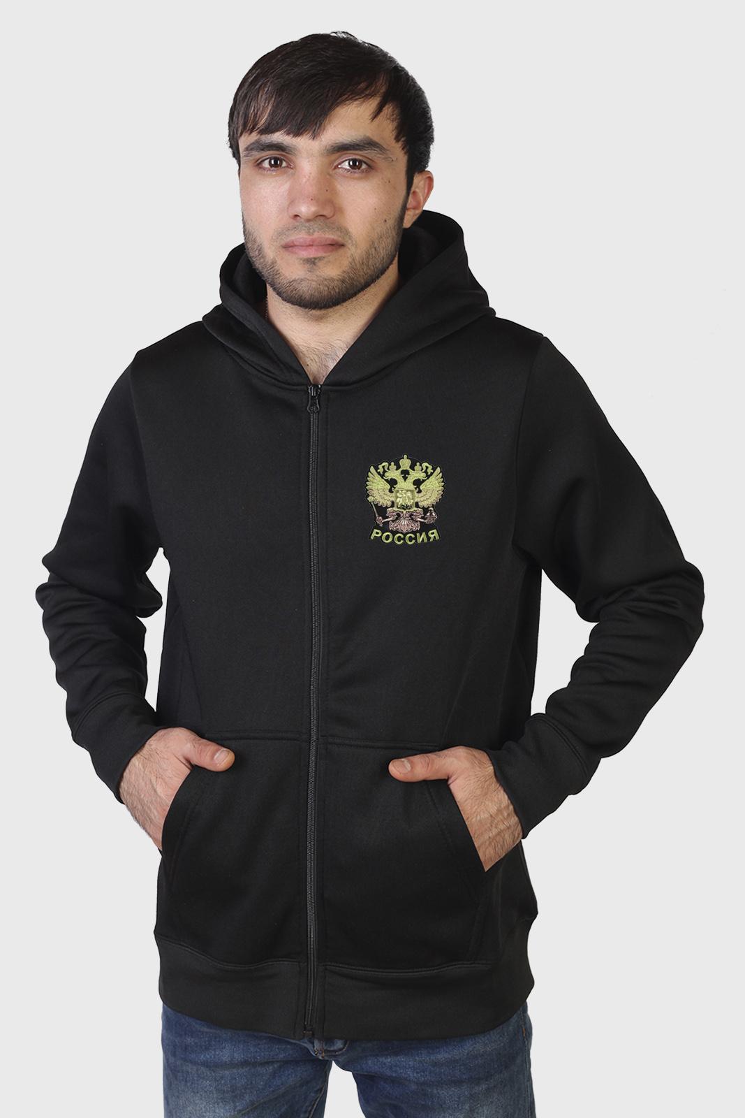 Мужская черная толстовка с гербом России