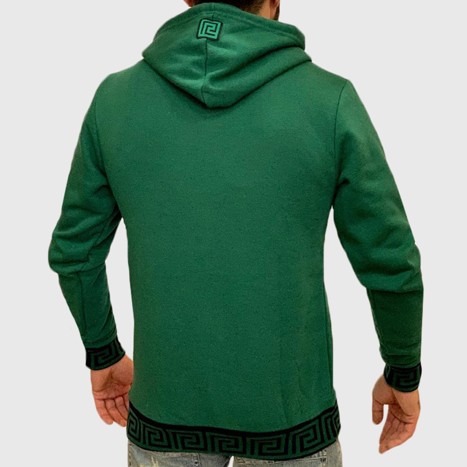 Купить модную мужскую кофту худи зеленого цвета