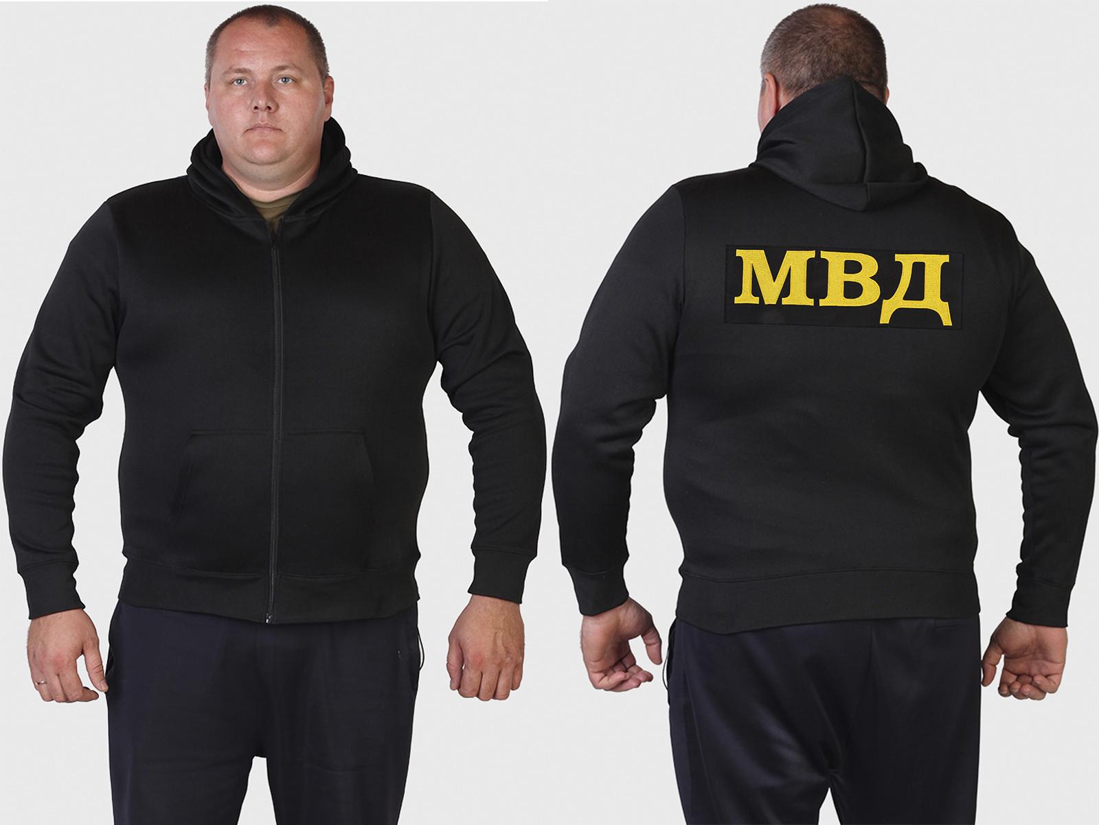 Черная толстовка МВД с капюшоном.