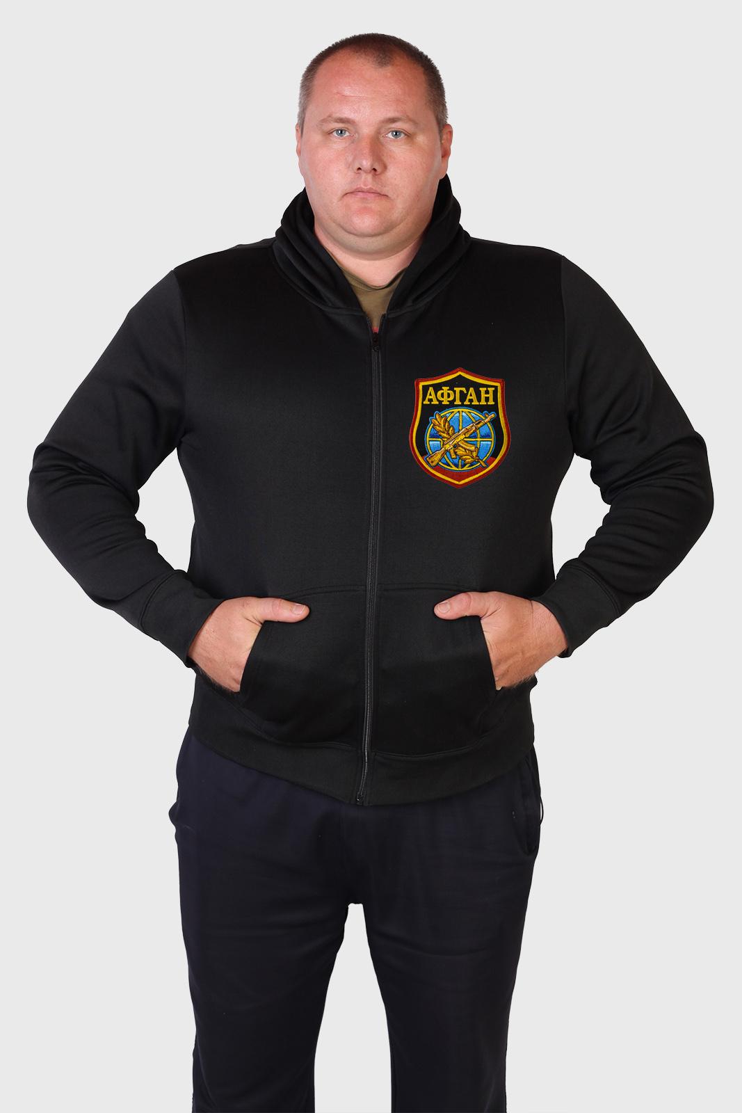 Черная мужская толстовка с шевроном АФГАН