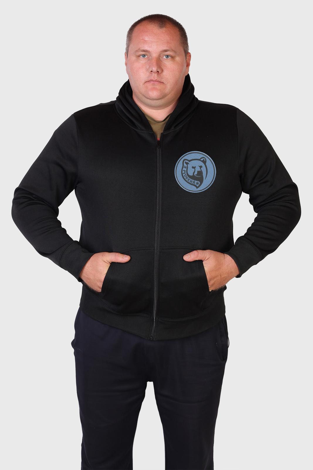 Мужская толстовка черного цвета с надписью Я – РУССКИЙ!