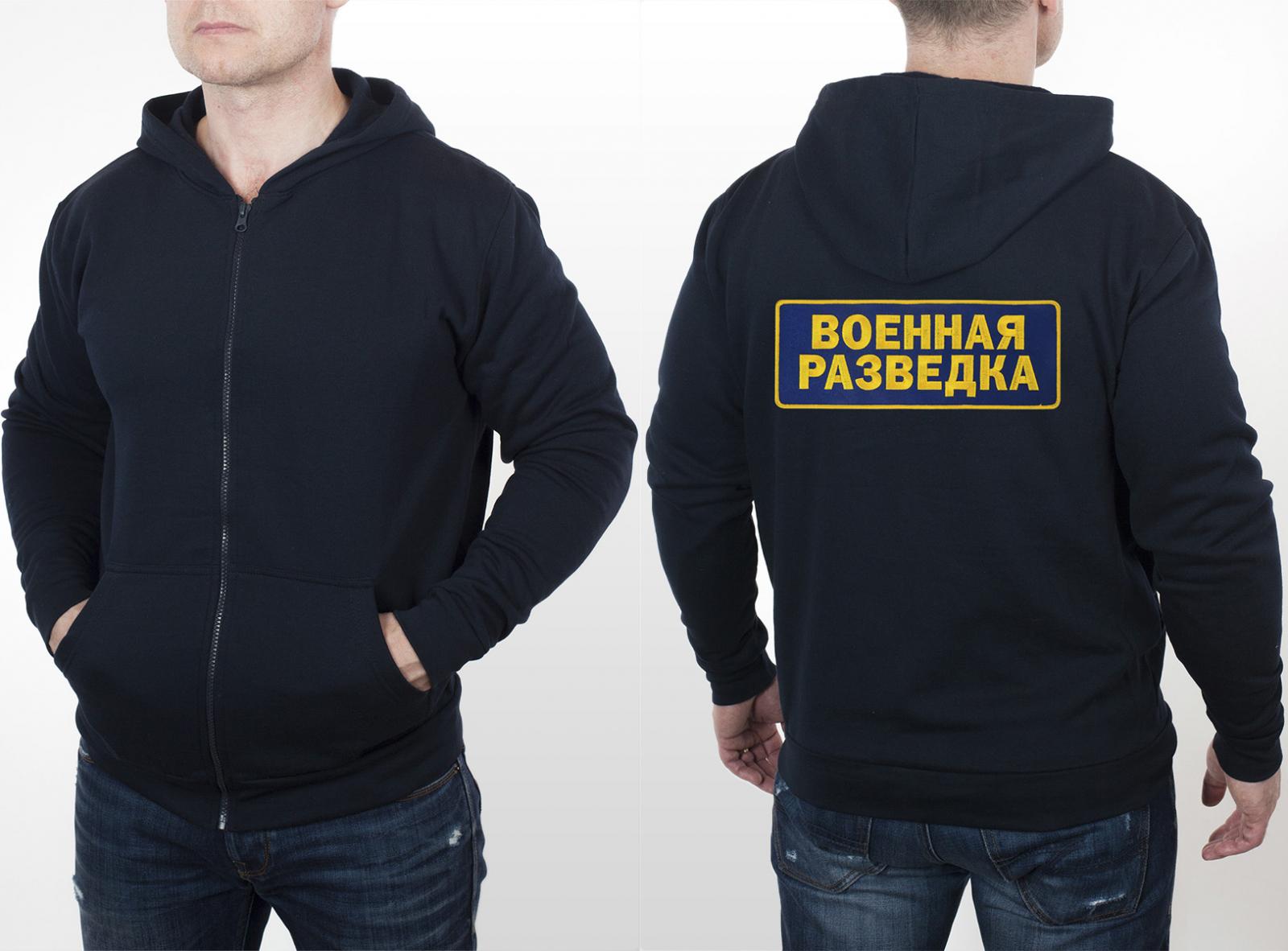 Мужская толстовка с капюшоном и нашивкой ВОЕННАЯ РАЗВЕДКА.