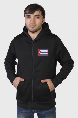 Толстовка с шевроном на груди Флаг Кубы