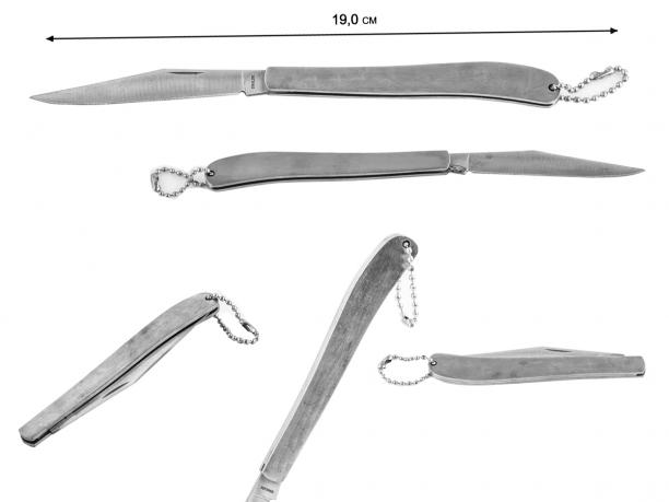 Тонкий складной нож наваха на цепочке